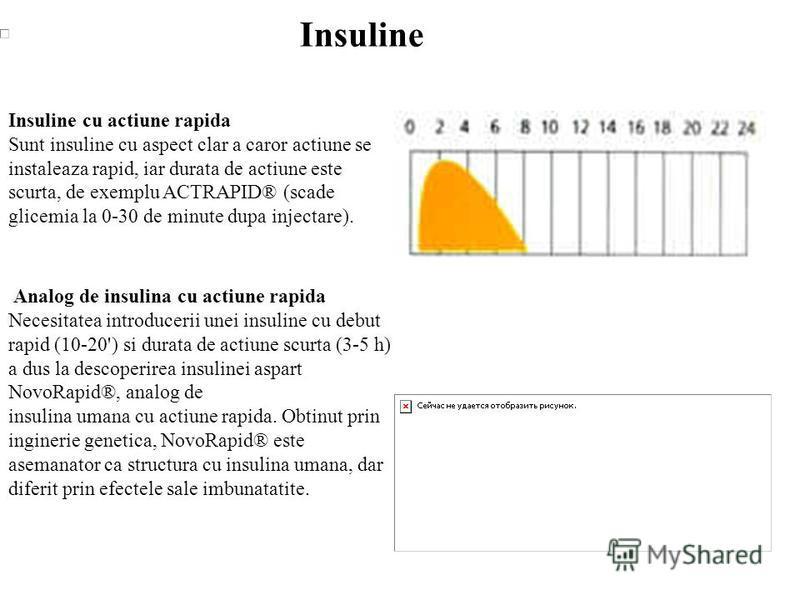 Insuline Insuline cu actiune rapida Sunt insuline cu aspect clar a caror actiune se instaleaza rapid, iar durata de actiune este scurta, de exemplu ACTRAPID® (scade glicemia la 0-30 de minute dupa injectare). Analog de insulina cu actiune rapida Nece