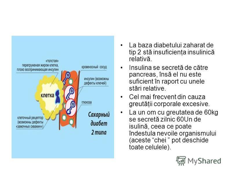 La baza diabetului zaharat de tip 2 stă insuficienţa insulinică relativă. Insulina se secretă de către pancreas, însă el nu este suficient în raport cu unele stări relative. Cel mai frecvent din cauza greutăţii corporale excesive. La un om cu greutat