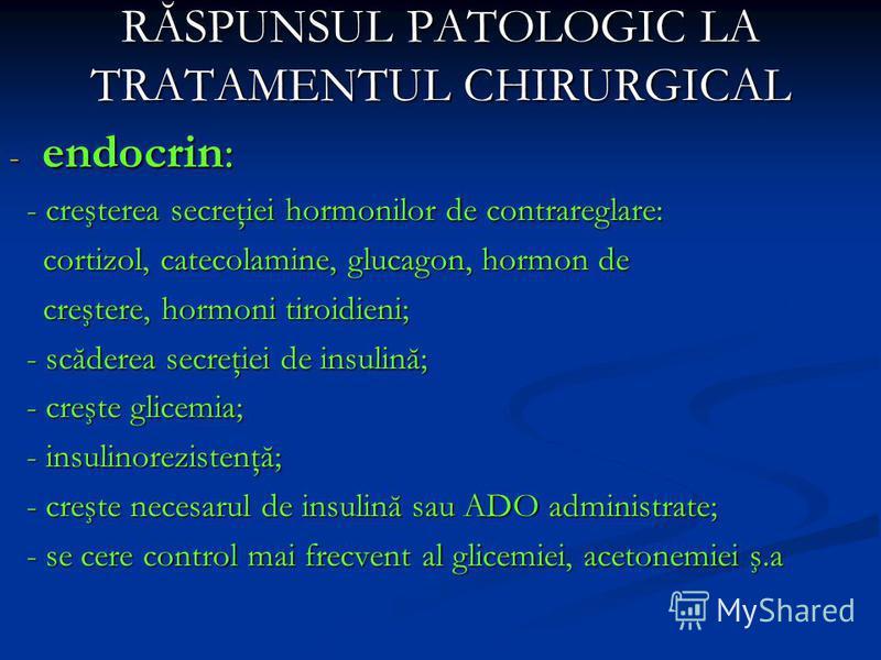 RĂSPUNSUL PATOLOGIC LA TRATAMENTUL CHIRURGICAL - endocrin: - creşterea secreţiei hormonilor de contrareglare: - creşterea secreţiei hormonilor de contrareglare: cortizol, catecolamine, glucagon, hormon de cortizol, catecolamine, glucagon, hormon de c
