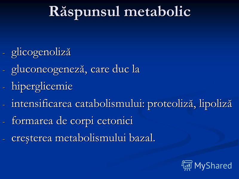 Răspunsul metabolic - glicogenoliză - gluconeogeneză, care duc la - hiperglicemie - intensificarea catabolismului: proteoliză, lipoliză - formarea de corpi cetonici - creşterea metabolismului bazal.