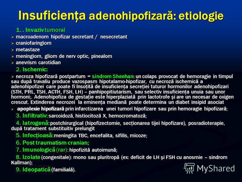 Insuficienţa adenohipofizară: etiologie 1.. Invaziv tumoral macroadenom hipofizar secretant / nesecretant macroadenom hipofizar secretant / nesecretant craniofaringiom craniofaringiom metastaze metastaze meningiom, gliom de nerv optic, pinealom menin