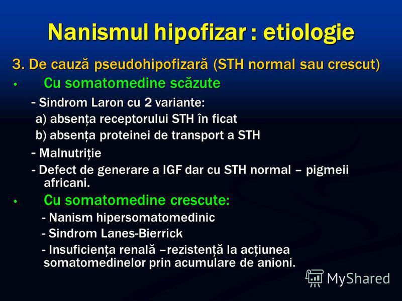 Nanismul hipofizar : etiologie 3. De cauză pseudohipofizară (STH normal sau crescut) Cu somatomedine scăzute Cu somatomedine scăzute - Sindrom Laron cu 2 variante: - Sindrom Laron cu 2 variante: a) absenţa receptorului STH în ficat a) absenţa recepto