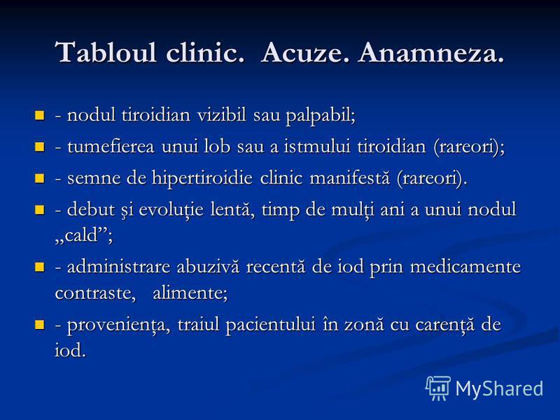 Tabloul clinic. Acuze. Anamneza. - nodul tiroidian vizibil sau palpabil; - nodul tiroidian vizibil sau palpabil; - tumefierea unui lob sau a istmului tiroidian (rareori); - tumefierea unui lob sau a istmului tiroidian (rareori); - semne de hipertiroi