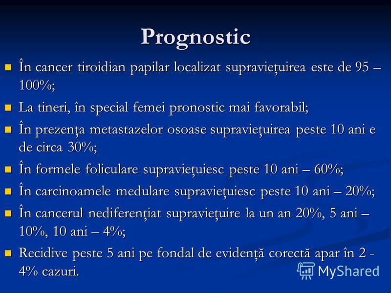 Prognostic În cancer tiroidian papilar localizat supravieţuirea este de 95 – 100%; În cancer tiroidian papilar localizat supravieţuirea este de 95 – 100%; La tineri, în special femei pronostic mai favorabil; La tineri, în special femei pronostic mai