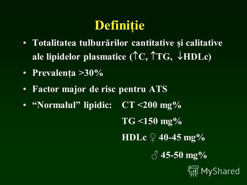 Definiţie Totalitatea tulburărilor cantitative şi calitative ale lipidelor plasmatice ( C, TG, HDLc) Prevalenţa >30% Factor major de risc pentru ATS Normalul lipidic: CT <200 mg% TG <150 mg% HDLc 40-45 mg% 45-50 mg%