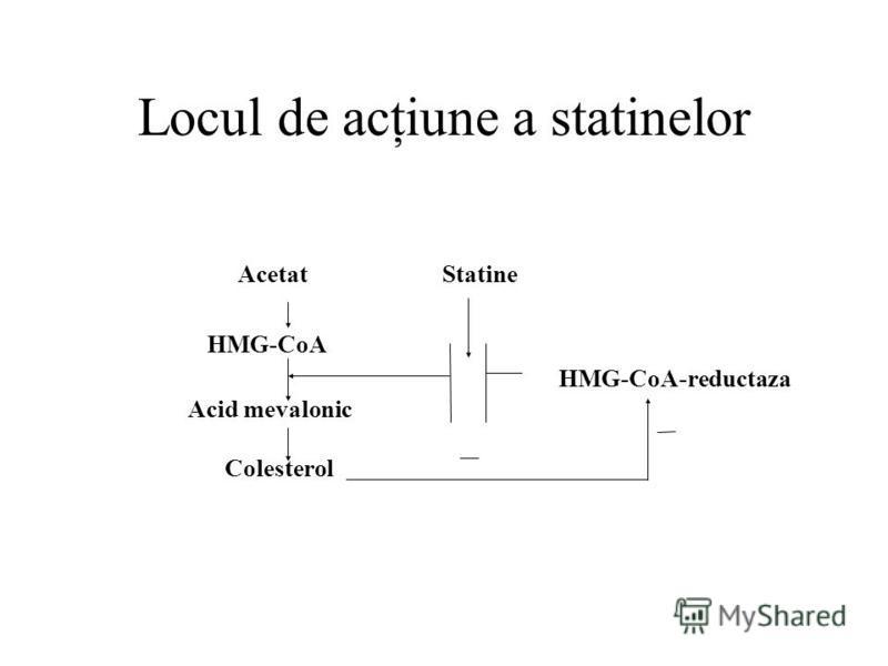 Locul de acţiune a statinelor Acetat Statine HMG-CoA HMG-CoA-reductaza Acid mevalonic Colesterol