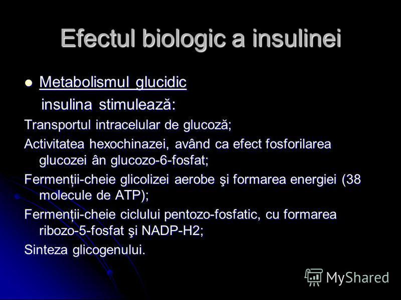 Efectul biologic a insulinei Metabolismul glucidic Metabolismul glucidic insulina stimulează: insulina stimulează: Transportul intracelular de glucoză; Activitatea hexochinazei, având ca efect fosforilarea glucozei ân glucozo-6-fosfat; Fermenţii-chei