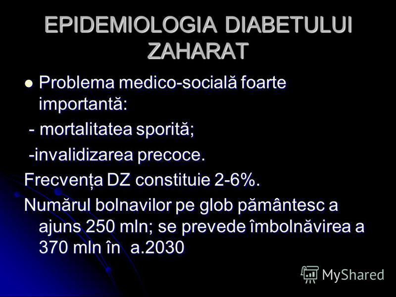 EPIDEMIOLOGIA DIABETULUI ZAHARAT Problema medico-socială foarte importantă: Problema medico-socială foarte importantă: - mortalitatea sporită; - mortalitatea sporită; -invalidizarea precoce. -invalidizarea precoce. Frecvenţa DZ constituie 2-6%. Număr