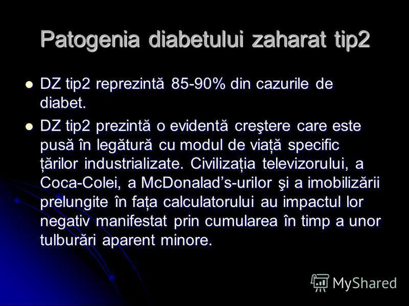 Patogenia diabetului zaharat tip2 DZ tip2 reprezintă 85-90% din cazurile de diabet. DZ tip2 reprezintă 85-90% din cazurile de diabet. DZ tip2 prezintă o evidentă creştere care este pusă în legătură cu modul de viaţă specific ţărilor industrializate.