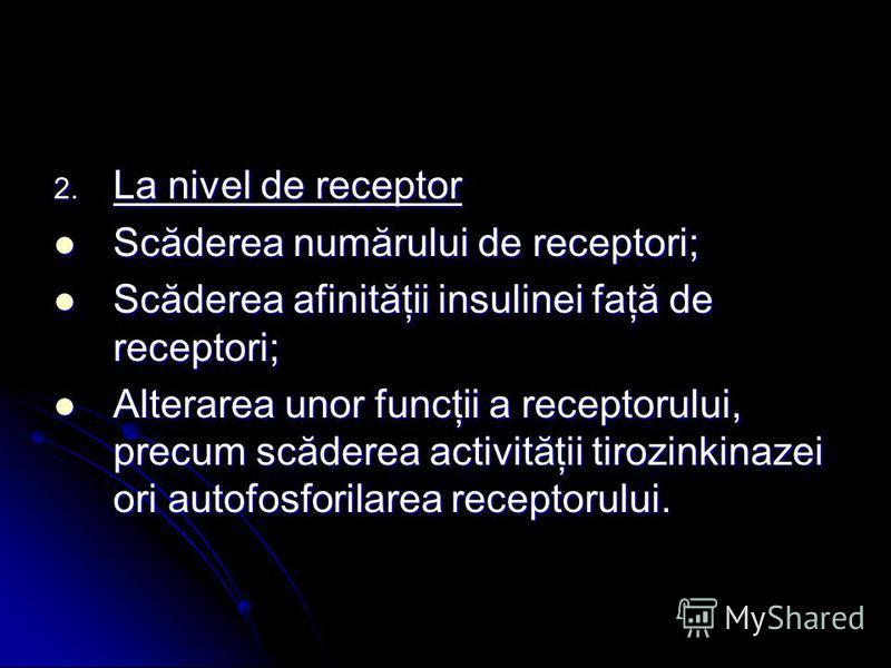 2. La nivel de receptor Scăderea numărului de receptori; Scăderea numărului de receptori; Scăderea afinităţii insulinei faţă de receptori; Scăderea afinităţii insulinei faţă de receptori; Alterarea unor funcţii a receptorului, precum scăderea activit