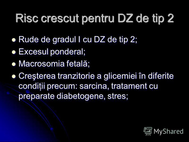 Risc crescut pentru DZ de tip 2 Rude de gradul I cu DZ de tip 2; Rude de gradul I cu DZ de tip 2; Excesul ponderal; Excesul ponderal; Macrosomia fetală; Macrosomia fetală; Creşterea tranzitorie a glicemiei în diferite condiţii precum: sarcina, tratam