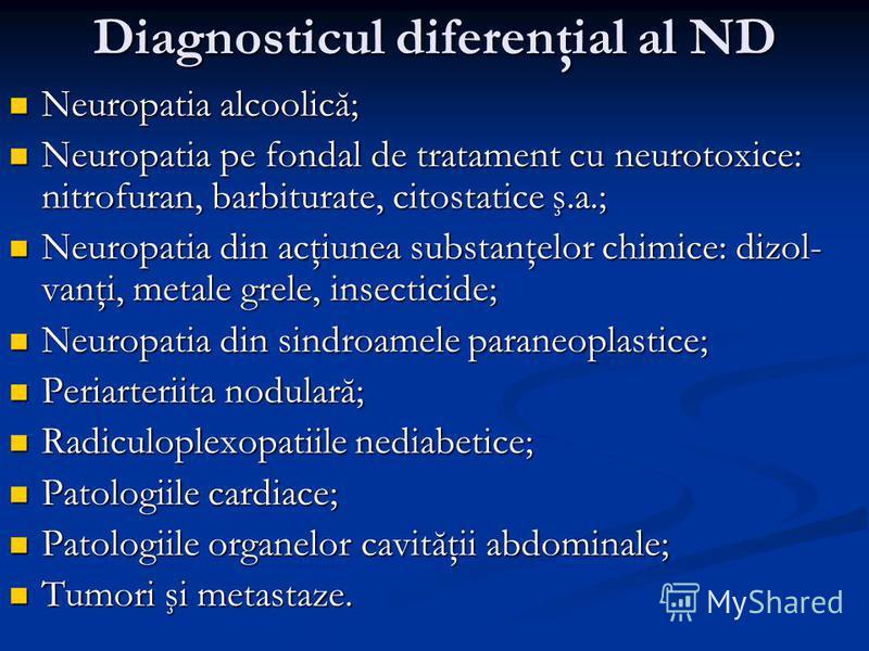 Diagnosticul diferenţial al ND Neuropatia alcoolică; Neuropatia alcoolică; Neuropatia pe fondal de tratament cu neurotoxice: nitrofuran, barbiturate, citostatice ş.a.; Neuropatia pe fondal de tratament cu neurotoxice: nitrofuran, barbiturate, citosta