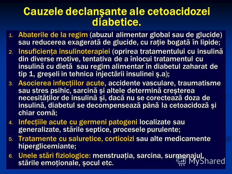 Cauzele declanşante ale cetoacidozei diabetice. 1. Abaterile de la regim (abuzul alimentar global sau de glucide) sau reducerea exagerată de glucide, cu raţie bogată în lipide; 2. Insuficienţa insulinoterapiei (oprirea tratamentului cu insulină din d