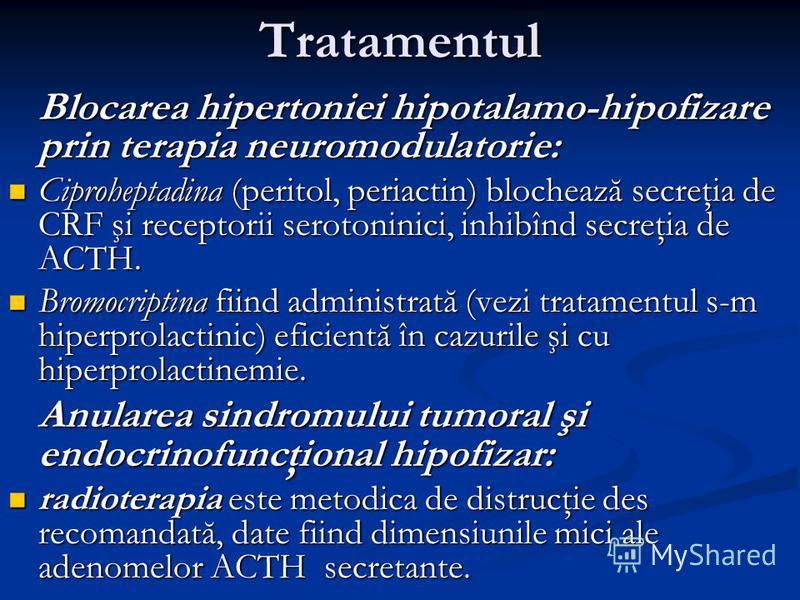 Tratamentul Blocarea hipertoniei hipotalamo-hipofizare prin terapia neuromodulatorie: Ciproheptadina (peritol, periactin) blochează secreţia de CRF şi receptorii serotoninici, inhibînd secreţia de ACTH. Ciproheptadina (peritol, periactin) blochează s