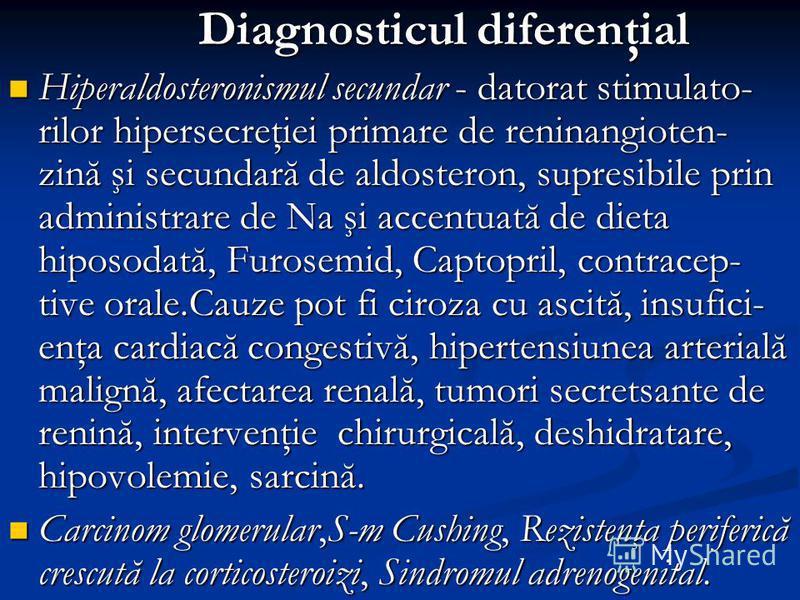 Diagnosticul diferenţial Diagnosticul diferenţial Hiperaldosteronismul secundar - datorat stimulato- rilor hipersecreţiei primare de reninangioten- zină şi secundară de aldosteron, supresibile prin administrare de Na şi accentuată de dieta hiposodată