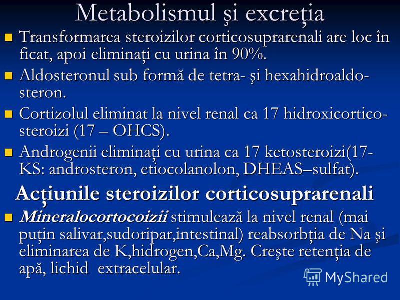 Metabolismul şi excreţia Transformarea steroizilor corticosuprarenali are loc în ficat, apoi eliminaţi cu urina în 90%. Transformarea steroizilor corticosuprarenali are loc în ficat, apoi eliminaţi cu urina în 90%. Aldosteronul sub formă de tetra- şi