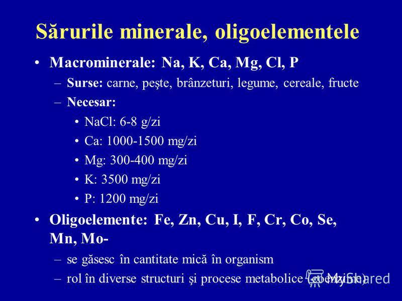 Sărurile minerale, oligoelementele Macrominerale: Na, K, Ca, Mg, Cl, P –Surse: carne, peşte, brânzeturi, legume, cereale, fructe –Necesar: NaCl: 6-8 g/zi Ca: 1000-1500 mg/zi Mg: 300-400 mg/zi K: 3500 mg/zi P: 1200 mg/zi Oligoelemente: Fe, Zn, Cu, I,