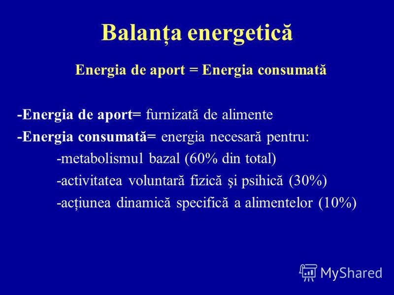 Balanţa energetică Energia de aport = Energia consumată -Energia de aport= furnizată de alimente -Energia consumată= energia necesară pentru: -metabolismul bazal (60% din total) -activitatea voluntară fizică şi psihică (30%) -acţiunea dinamică specif