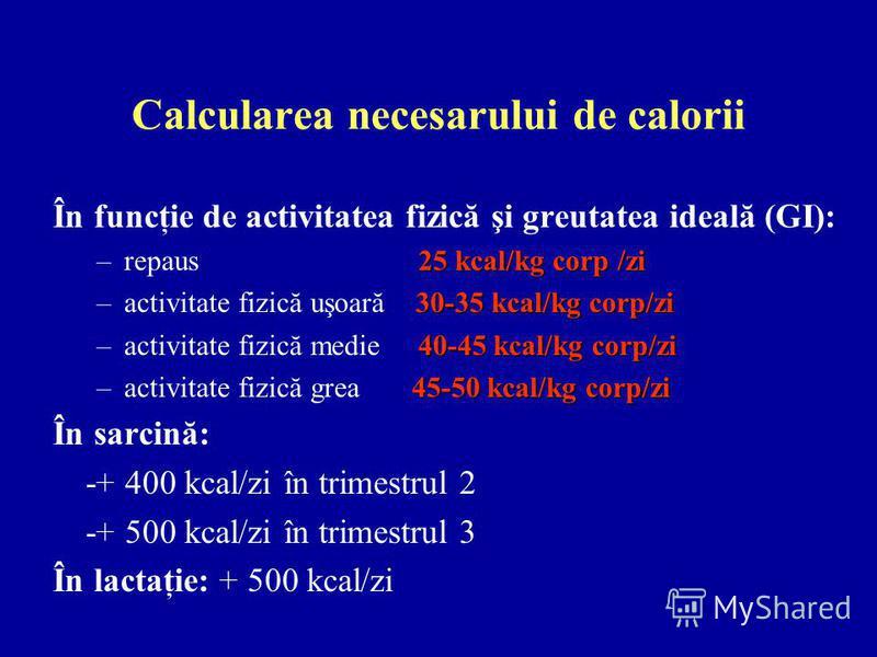 Calcularea necesarului de calorii În funcţie de activitatea fizică şi greutatea ideală (GI): 25 kcal/kg corp /zi –repaus 25 kcal/kg corp /zi 30-35 kcal/kg corp/zi –activitate fizică uşoară 30-35 kcal/kg corp/zi 40-45 kcal/kg corp/zi –activitate fizic
