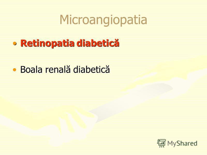 Microangiopatia Retinopatia diabeticăRetinopatia diabetică Boala renală diabeticăBoala renală diabetică
