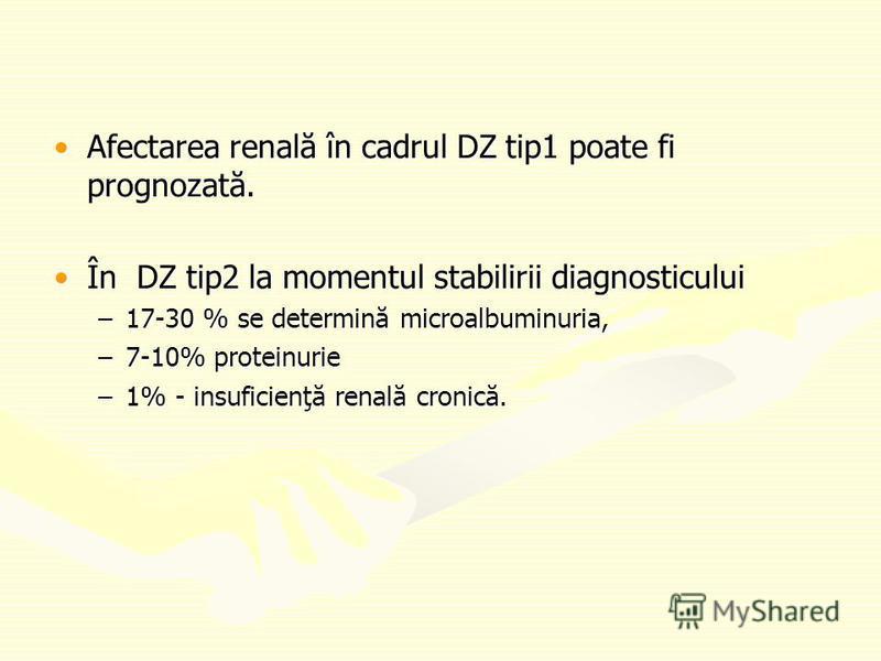 Afectarea renală în cadrul DZ tip1 poate fi prognozată.Afectarea renală în cadrul DZ tip1 poate fi prognozată. În DZ tip2 la momentul stabilirii diagnosticuluiÎn DZ tip2 la momentul stabilirii diagnosticului –17-30 % se determină microalbuminuria, –7