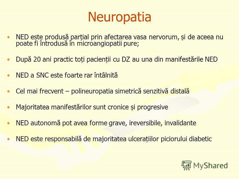 Neuropatia NED este produsă parțial prin afectarea vasa nervorum, și de aceea nu poate fi întrodusă în microangiopatii pure; După 20 ani practic toți pacienții cu DZ au una din manifestările NED NED a SNC este foarte rar întâlnită Cel mai frecvent –