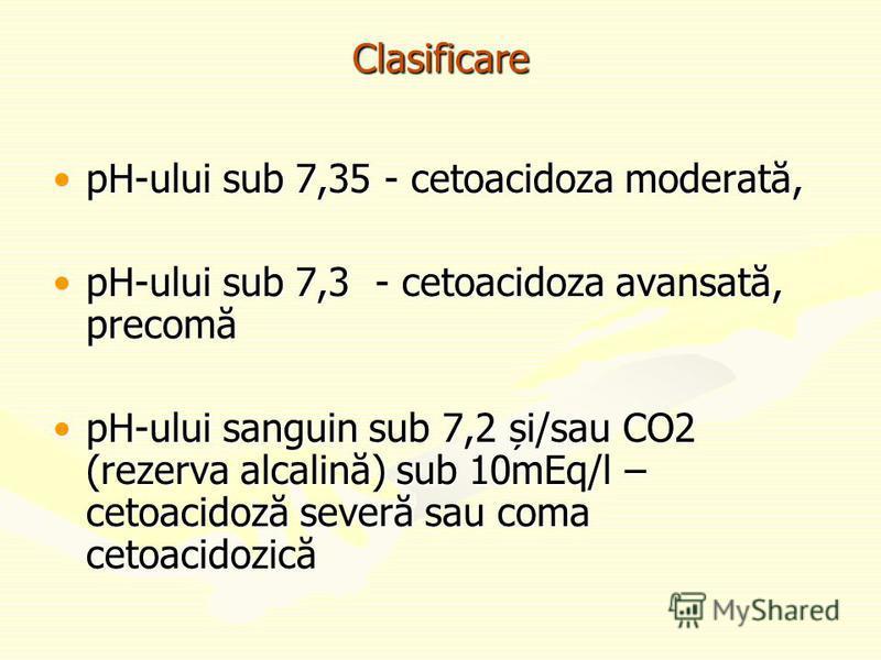 Clasificare pH-ului sub 7,35 - cetoacidoza moderată,pH-ului sub 7,35 - cetoacidoza moderată, pH-ului sub 7,3 - cetoacidoza avansată, precomăpH-ului sub 7,3 - cetoacidoza avansată, precomă pH-ului sanguin sub 7,2 și/sau CO2 (rezerva alcalină) sub 10mE