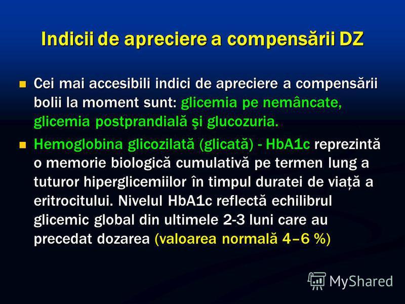 Indicii de apreciere a compensării DZ Cei mai accesibili indici de apreciere a compensării bolii la moment sunt: glicemia pe nemâncate, glicemia postprandială şi glucozuria. Cei mai accesibili indici de apreciere a compensării bolii la moment sunt: g