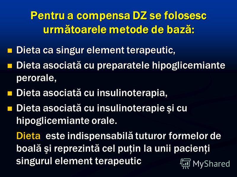 Pentru a compensa DZ se folosesc următoarele metode de bază: Dieta ca singur element terapeutic, Dieta ca singur element terapeutic, Dieta asociată cu preparatele hipoglicemiante perorale, Dieta asociată cu preparatele hipoglicemiante perorale, Dieta