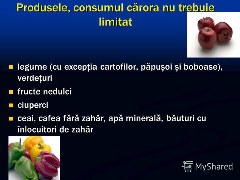 Produsele, consumul cărora nu trebuie limitat legume (cu excepţia cartofilor, păpuşoi şi boboase), verdeţuri legume (cu excepţia cartofilor, păpuşoi şi boboase), verdeţuri fructe nedulci fructe nedulci ciuperci ciuperci ceai, cafea fără zahăr, apă mi