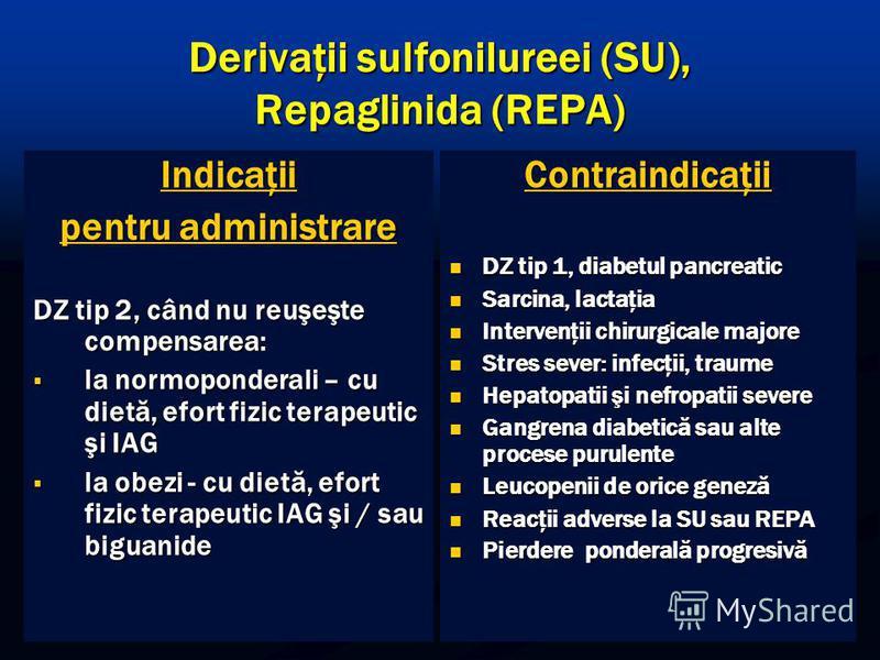 Derivaţii sulfonilureei (SU), Repaglinida (REPA) Indicaţii pentru administrare DZ tip 2, când nu reuşeşte compensarea: la normoponderali – cu dietă, efort fizic terapeutic şi IAG la normoponderali – cu dietă, efort fizic terapeutic şi IAG la obezi -