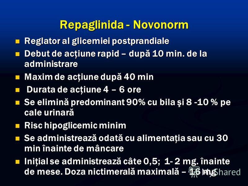 Repaglinida - Novonorm Reglator al glicemiei postprandiale Reglator al glicemiei postprandiale Debut de acţiune rapid – după 10 min. de la administrare Debut de acţiune rapid – după 10 min. de la administrare Maxim de acţiune după 40 min Maxim de acţ