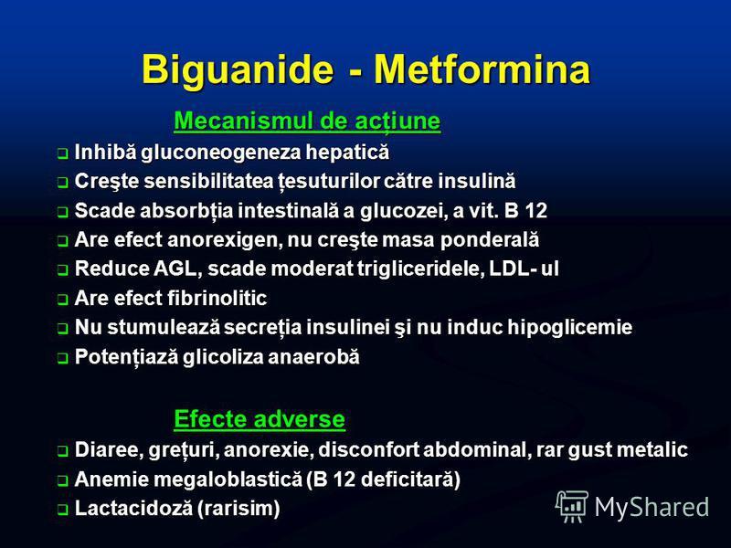 Biguanide - Metformina Mecanismul de acţiune Inhibă gluconeogeneza hepatică Inhibă gluconeogeneza hepatică Creşte sensibilitatea ţesuturilor către insulină Creşte sensibilitatea ţesuturilor către insulină Scade absorbţia intestinală a glucozei, a vit