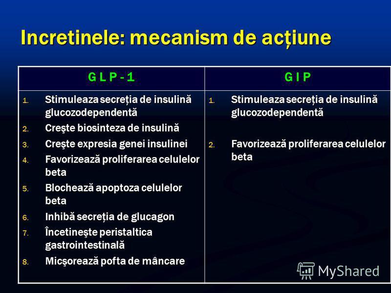 Incretinele: mecanism de acţiune G L P - 1 G I P 1. Stimuleaza secreţia de insulină glucozodependentă 2. Creşte biosinteza de insulină 3. Creşte expresia genei insulinei 4. Favorizează proliferarea celulelor beta 5. Blochează apoptoza celulelor beta
