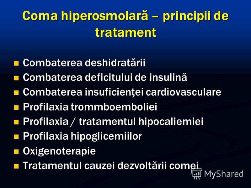 Coma hiperosmolară – principii de tratament Combaterea deshidratării Combaterea deshidratării Combaterea deficitului de insulină Combaterea deficitului de insulină Combaterea insuficienţei cardiovasculare Combaterea insuficienţei cardiovasculare Prof