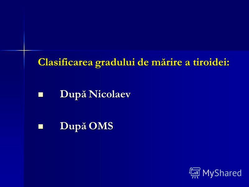Clasificarea gradului de mărire a tiroidei: După Nicolaev După Nicolaev După OMS După OMS