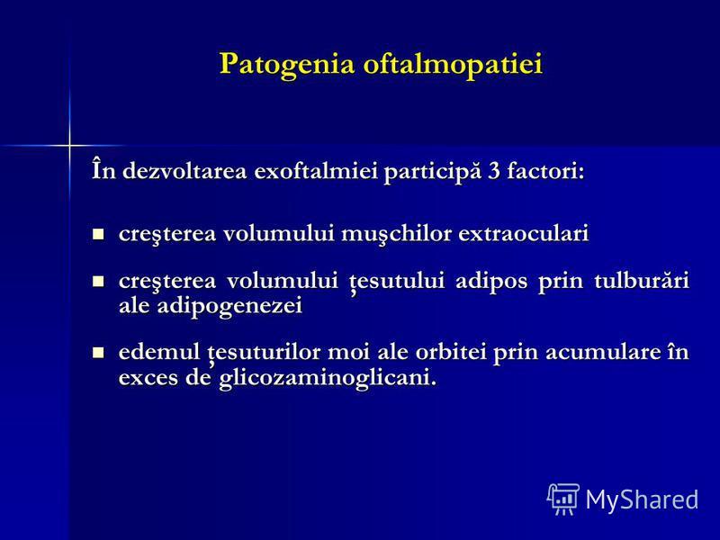 Patogenia oftalmopatiei În dezvoltarea exoftalmiei participă 3 factori: creşterea volumului muşchilor extraoculari creşterea volumului muşchilor extraoculari creşterea volumului ţesutului adipos prin tulburări ale adipogenezei creşterea volumului ţes
