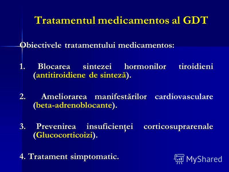 Tratamentul medicamentos al GDT Obiectivele tratamentului medicamentos: 1. Blocarea sintezei hormonilor tiroidieni (antitiroidiene de sinteză). 2. Ameliorarea manifestărilor ). 2. Ameliorarea manifestărilor cardiovasculare (beta-adrenoblocante). 3. P