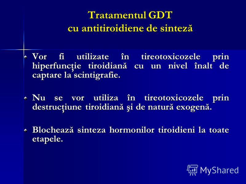 Tratamentul GDT cu antitiroidiene de sinteză Vor fi utilizate în tireotoxicozele prin hiperfuncţie tiroidiană cu un nivel înalt de captare la scintigrafie. Nu se vor utiliza în tireotoxicozele prin destrucţiune tiroidiană şi de natură exogenă. Bloche