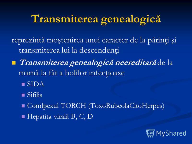 Transmiterea genealogică reprezintă moştenirea unui caracter de la părinţi şi transmiterea lui la descendenţi Transmiterea genealogică neereditară de la mamă la făt a bolilor infecţioase SIDA Sifilis Comlpexul TORCH (ToxoRubeolaCitoHerpes) Hepatita v