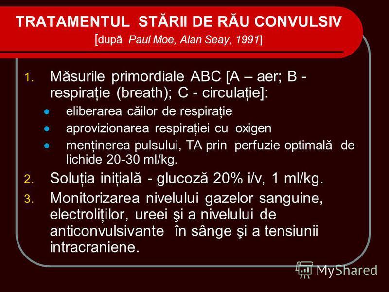 TRATAMENTUL STĂRII DE RĂU CONVULSIV [ după Paul Moe, Alan Seay, 1991] 1. Măsurile primordiale ABC [A – aer; B - respiraţie (breath); C - circulaţie]: eliberarea căilor de respiraţie aprovizionarea respiraţiei cu oxigen menţinerea pulsului, TA prin pe
