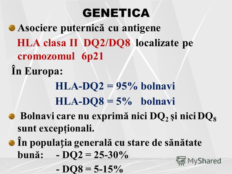 GENETICA Asociere puternică cu antigene HLA clasa II DQ2/DQ8 localizate pe cromozomul 6p21 În Europa: HLA-DQ2 = 95% bolnavi HLA-DQ8 = 5% bolnavi Bolnavi care nu exprimă nici DQ 2 şi nici DQ 8 sunt excepţionali. În populaia generală cu stare de sănăta