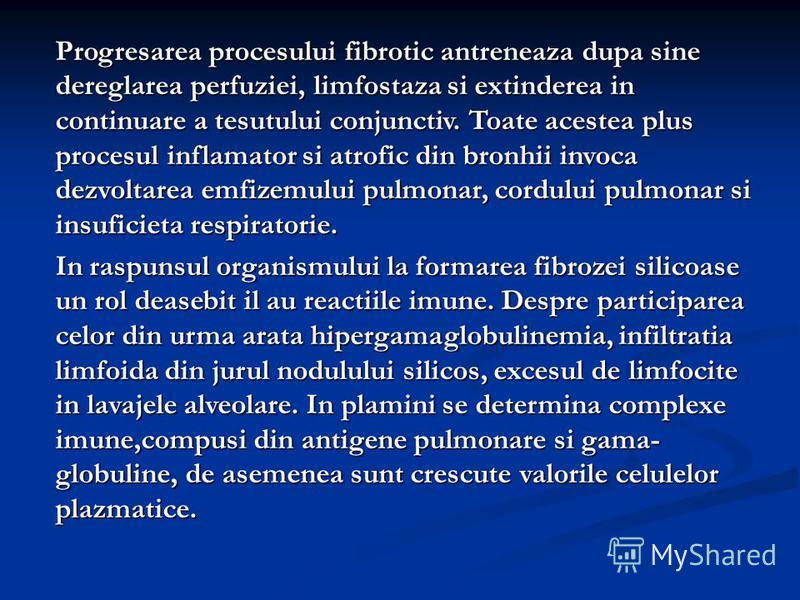 Progresarea procesului fibrotic antreneaza dupa sine dereglarea perfuziei, limfostaza si extinderea in continuare a tesutului conjunctiv. Toate acestea plus procesul inflamator si atrofic din bronhii invoca dezvoltarea emfizemului pulmonar, cordului