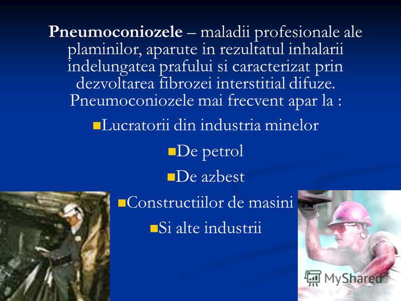 Pneumoconiozele – maladii profesionale ale plaminilor, aparute in rezultatul inhalarii indelungatea prafului si caracterizat prin dezvoltarea fibrozei interstitial difuze. Pneumoconiozele mai frecvent apar la : Lucratorii din industria minelor De pet