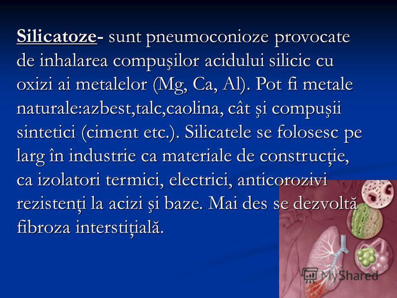 Silicatoze- sunt pneumoconioze provocate de inhalarea compuşilor acidului silicic cu oxizi ai metalelor (Mg, Ca, Al). Pot fi metale naturale:azbest,talc,caolina, cât şi compuşii sintetici (ciment etc.). Silicatele se folosesc pe larg în industrie ca