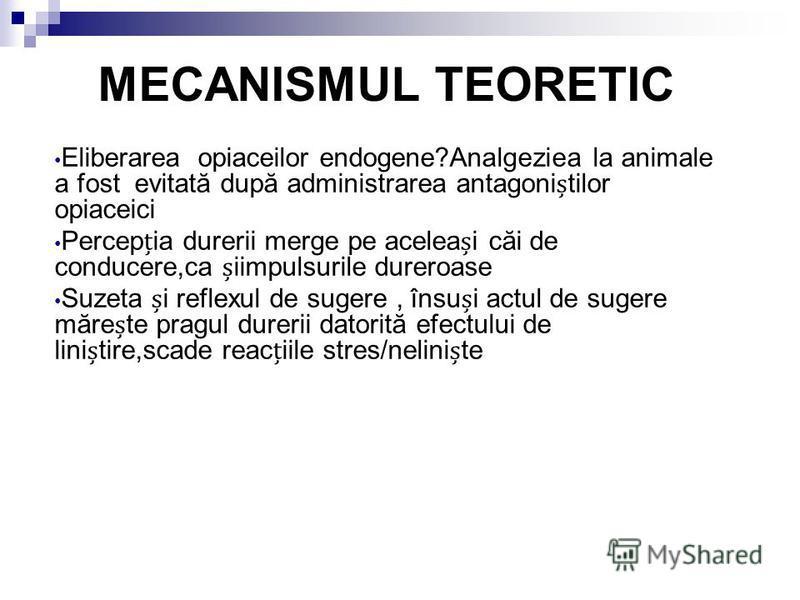 MECANISMUL TEORETIC Eliberarea opiaceilor endogene?Analgeziea la animale a fost evitată după administrarea antagonitilor opiaceici Percepia durerii merge pe aceleai căi de conducere,ca iimpulsurile dureroase Suzeta i reflexul de sugere, însui actul d