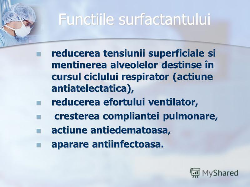 Functiile surfactantului reducerea tensiunii superficiale si mentinerea alveolelor destinse în cursul ciclului respirator (actiune antiatelectatica), reducerea tensiunii superficiale si mentinerea alveolelor destinse în cursul ciclului respirator (ac