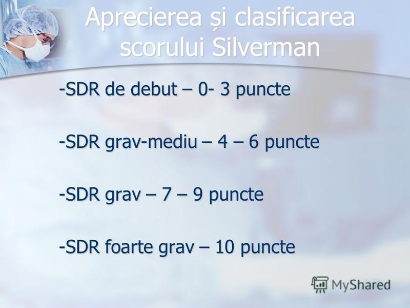 Aprecierea și clasificarea scorului Silverman -SDR de debut – 0- 3 puncte -SDR grav-mediu – 4 – 6 puncte -SDR grav – 7 – 9 puncte -SDR foarte grav – 10 puncte