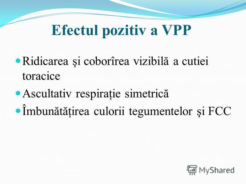 Efectul pozitiv a VPP Ridicarea şi coborîrea vizibilă a cutiei toracice Ascultativ respiraţie simetrică Îmbunătăţirea culorii tegumentelor şi FCC
