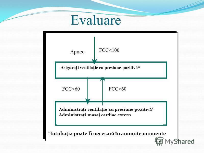 Evaluare Apnee FCC<100 Asigurai ventilaie cu presiune pozitivă* FCC<60FCC>60 Administrați ventilație cu presiune pozitivă* Administrați masaj cardiac extern *Intubația poate fi necesară în anumite momente